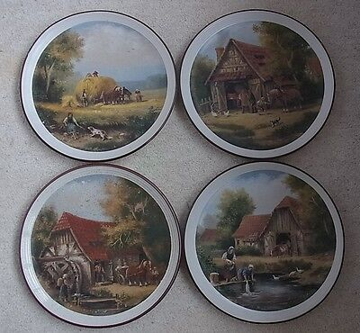 "Purbeck Pottery Complete Collection Of 4 ""village Life"" Picture Plates - 10 3/8"""