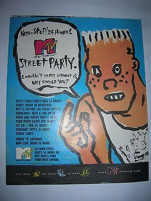 1990 Vintage Mtv Music Television Street Party Non-Stop 24 Hrs Ad Pinup Poster