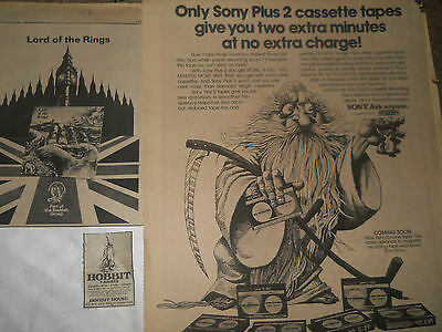 LORD OF THE RINGS LOT VINTAGE ADVERTISEMENTS PINUP POSTER J. R. R. Tolkien SONY