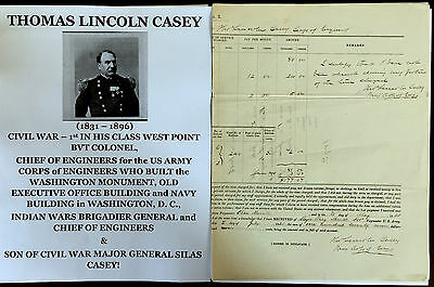 Civil War Army Corps Engineers Colonel/indian Wars General Document Signed 1864!