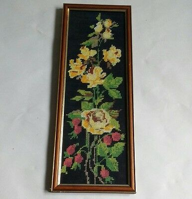 Vintage framed completed needlepoint tapestry yellow flowers roses shabby chic