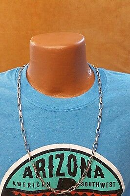 "Native American Handmade Navajo Chain Necklace - Stamped - 30"" - Sterling Silver"