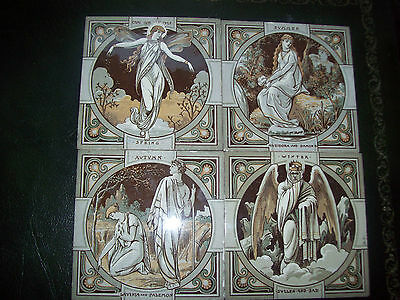 antique minton set of 4 season tiles