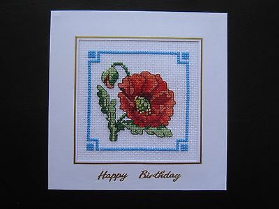 "Completed cross stitch card:Floral - Poppies. Happy Birthday. Approx 5.7"" x 5.7"""