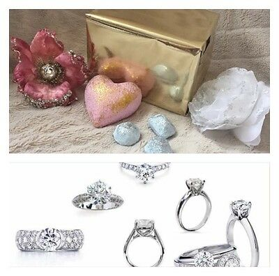 Silver Plated Cubic Zirconia Ring Hidden Bath Bomb Large Heart Glitter Bomb