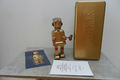 Rare Gold Strenco Roboter ST-1 Robot Clockwork 50 Years Made in China Box