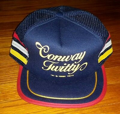 Vintage CONWAY TWITTY Country CONCERT TOUR Mesh Trucker Baseball Hat Blue NEW!!