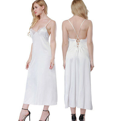 Womens V-neck Satin Nightgown Nightie Negligee Night Dress Slips Sleepwear