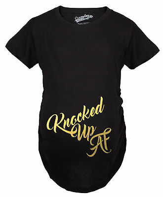 Maternity Knocked Up Funny T shirts Gold Shimmer Pregnancy Announcement T shirt