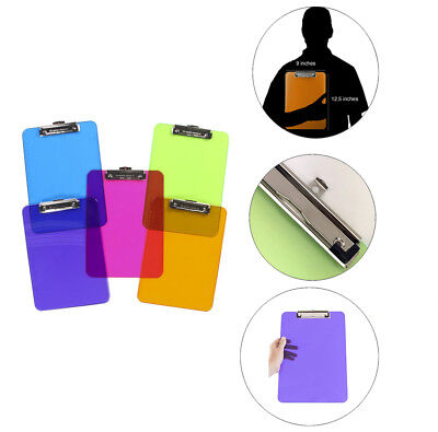 6 PACK Colorful Transparent Clipboards Document Holder Office Desk Supplies LOT