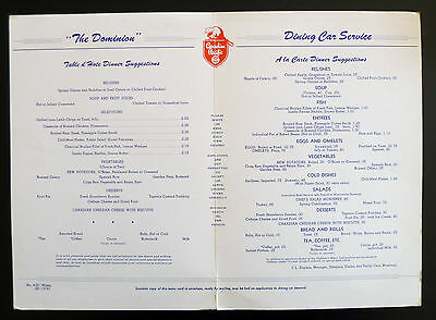 CPR Dominion Menu Dining Car Service Canadian Pacific Train Mt Eisenhower Photo