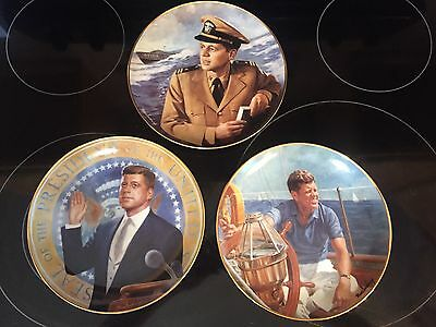 John F. Kennedy Franklin Mint Collector's Plate by Max Ginsburg-JFK-Set of 3