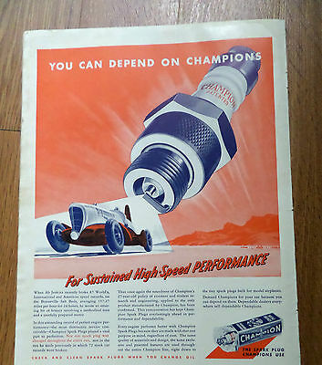 1938 Champions Spark Plugs Ad Ab Jenkins Bonneville Salt Beds Speed Records
