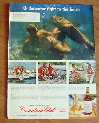 1951 Canadian Club Whiskey Ad Spearing Giants Bahama