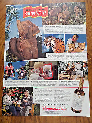 1943 Canadian Club Whiskey Ad Ft Lauderedale Jungle Zoo Clyde Beatty's Circus