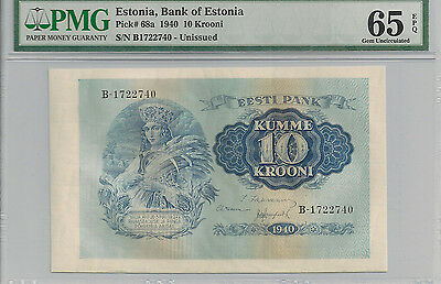 P-68a 1940 10 Krooni, Bank of Estonia, PMG 65EPQ