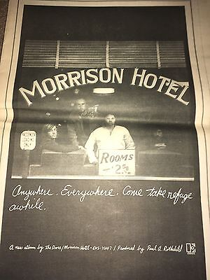 Vintage 1970 The Doors Morrison Hotel Album Ad Pinup Poster Elektra Records
