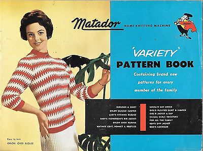 Vintage Matador home knitting machine variety pattern book family kids jumper