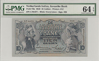 P-79c 1939 10 Gulden, Netherlands Indies, Javasche Bank,  PMG 64EPQ Nice