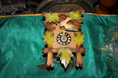 Vintage West Germany Cuckoo Clock-Green Leave Design-Small Size German Clock