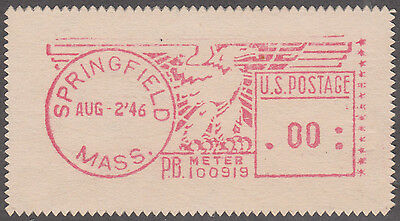 Pitney Bowes $0.00 Meter Stamp (Dated August 2, 1946) Springfield, Mass
