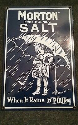 Vintage Porcelain Morton Salt Sign Highly Collectable Virtually Rust Free!!!