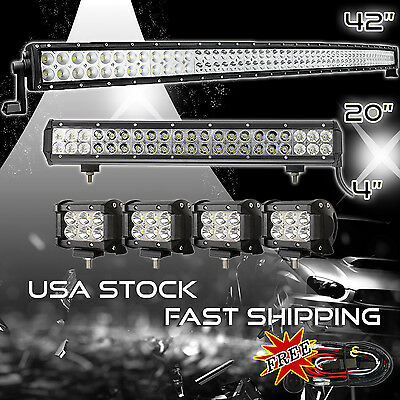 """42Inch Curved LED Light Bar + 20in +4"""" CREE PODS OFFROAD SUV 4WD ATV FOG JEEP 40"""