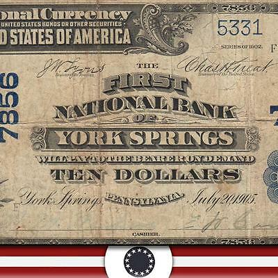 RARE 1902 $10 National Currency YORK SPRINGS  PA Large Bank Note CH Charter 7856