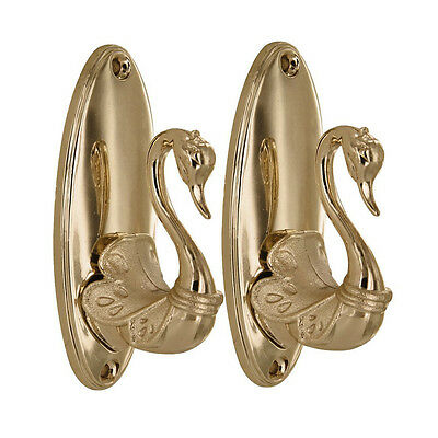 Pair of Vintage Swan Style Drapery Curtain Holdbacks Tieback Hooks Golden