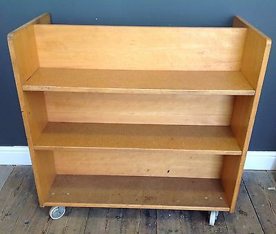 Vintage Wooden Library Book Trolley Storage Unit On Wheels