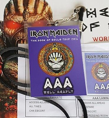 Iron Maiden AAA Backstage Pass Book of Souls Tour Access All Areas Memorabilia