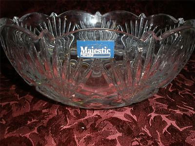 Vintage Majestic Blown And Cut 24 % Lead Crystal Bowl Czechoslovakia