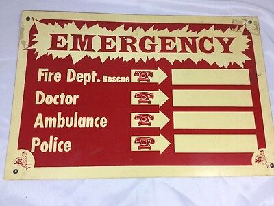 Vintage Emergency Phone Numbers Wall Sign Fire Dept. Rescue Dr Police Ambulance