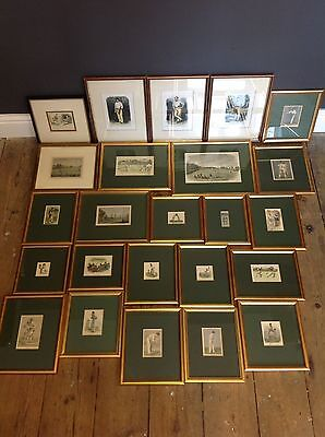 Framed Antique Prints Of Cricket Related Subjects X 24 Lords W G Grace Etc