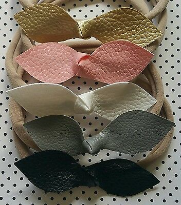 Faux Leather Bow Girls Baby Toddler Hair Tie Headbands Newborn