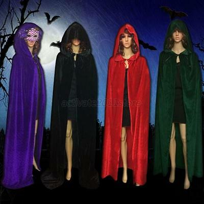 Halloween Unisex Velvet Hooded Cloak Wicca Robe Medieval Witchcraft Larp Cape US