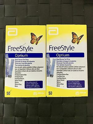 100 freestyle optium blood glucose test strips