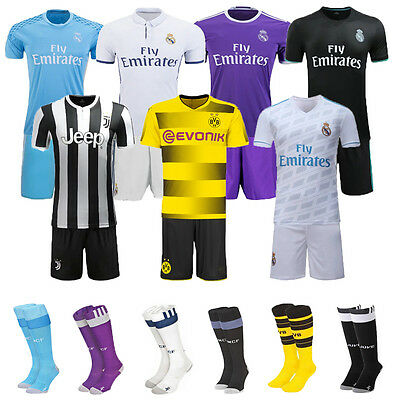 16/17/18 Football Soccer Jersey Short Sleeve 3-14Y Kids Boy Socks Team Club Kits