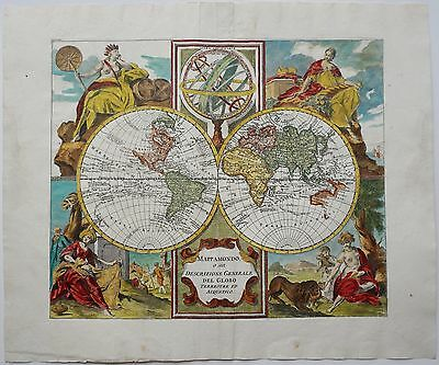 World Map 1750 Original Antique Copper Engraving World Map Albrizzi