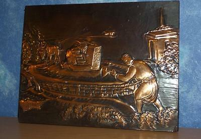 Old Beaten Copper Art Donkey & Farmer Ploughing Made Adonis Cyprus Wall Display