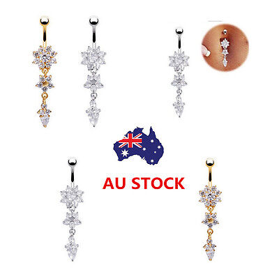 Belly Bar Navel Button Ring Crystal Gem Dangle Navel Body Piercing Jewelry New
