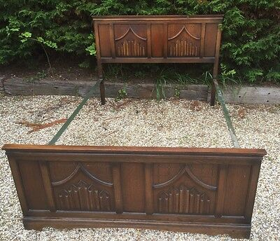 Fine Arts & Crafts Gothic Style Old Charm Oak Double Bed  2 Man Delivery