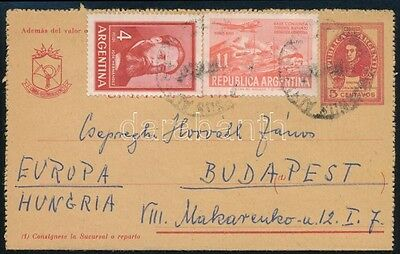 Argentina stamp 1965 PS cover to Hungary (A47)