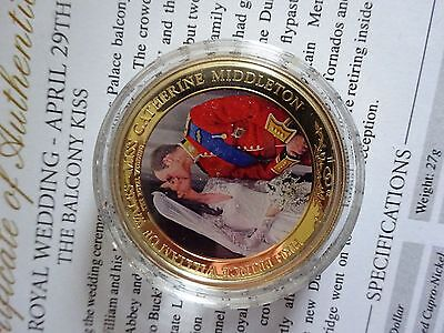 BALCONY KISS Royal Wedding $1 Coin Gold Plated In Capsule + Cert Prince William