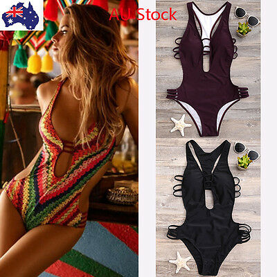 Womens Bandage Swimwear One Piece Bikini Swimsuit Push Up Beachwear Bathing AU