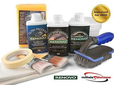 Renovo BLACK Convertible Hood Soft Top Reviver COMPLETE KIT with brushes etc