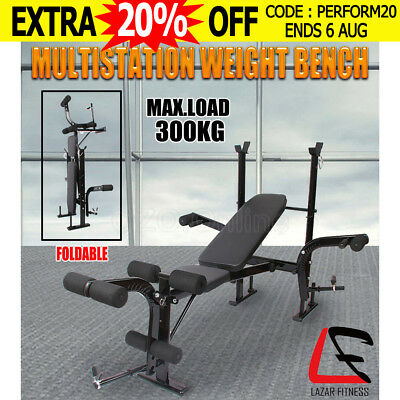Lazar Fitness Multi-Station Weight Bench Press Flat Incline Leg Curl Home Gym AU