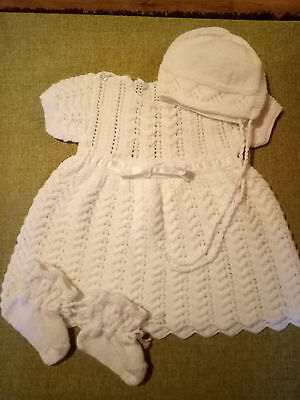 hand knitted baby clothes, dress, bonnet and booties