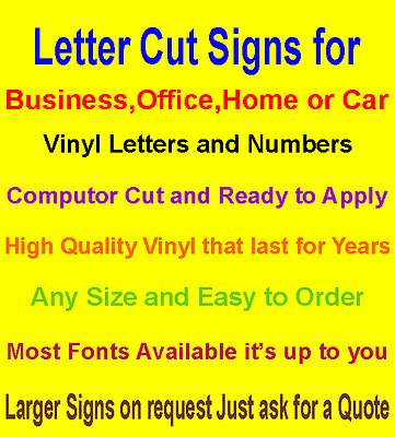 Custom Cut Vinyl Letters Numbers Graphics Stickers Sign Characters Stick-on
