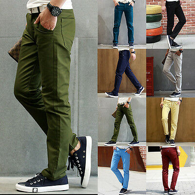 New Men Slim Fit Straight-Leg jeans Trousers Casual pencil Business Pants Mens